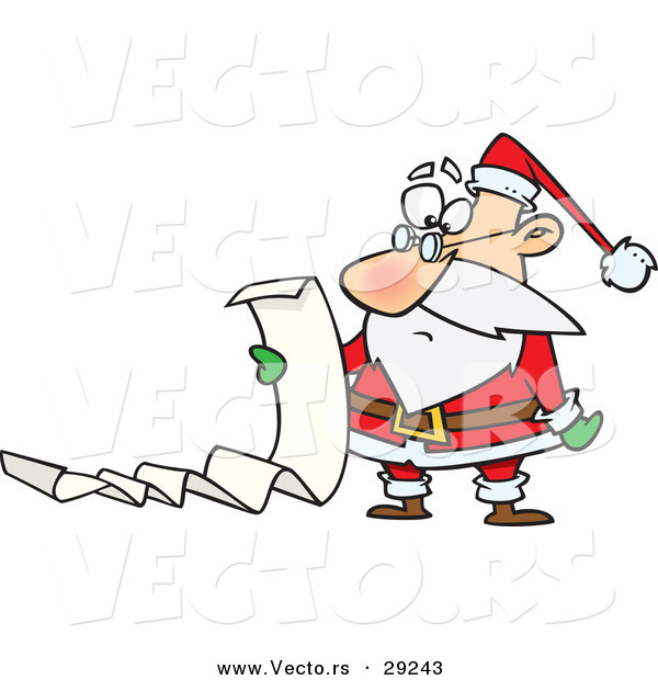 Cartoon Vector of an Unhappy Santa Reading Long List