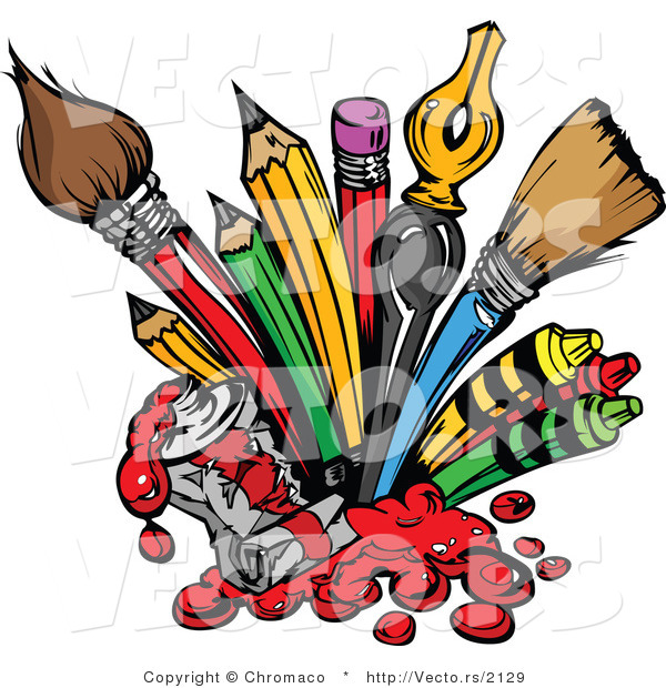 Cartoon Vector of Art Supplies: Pencils, Ink Pens, Paint Brushes