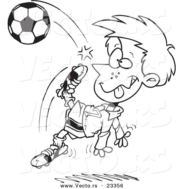 Cartoon Vector of Cartoon Boy Doing a Soccer Kick - Coloring Page Outline