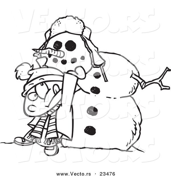 Cartoon Vector of Cartoon Boy Putting a Head on a Snowman - Coloring Page Outline
