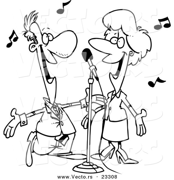 Cartoon Vector of Cartoon Couple Singing - Coloring Page Outline