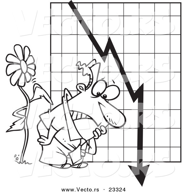 Cartoon Vector of Cartoon Flower Tapping on a Man by a Failing Chart - Coloring Page Outline