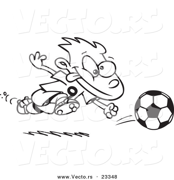 Cartoon Vector of Cartoon Running Soccer Boy - Coloring Page Outline