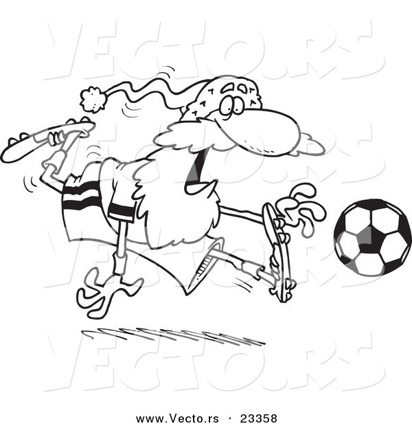 Cartoon Vector of Cartoon Santa Playing Soccer - Coloring Page Outline