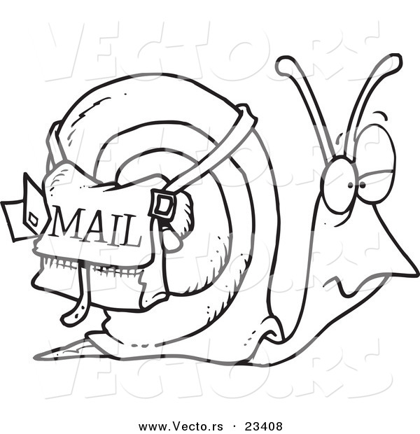 Cartoon Vector of Cartoon Snail Mail - Coloring Page Outline