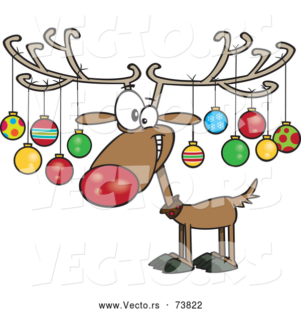 Cartoon Vector of Christmas Reindeer Decorated with Ornaments on Antlers
