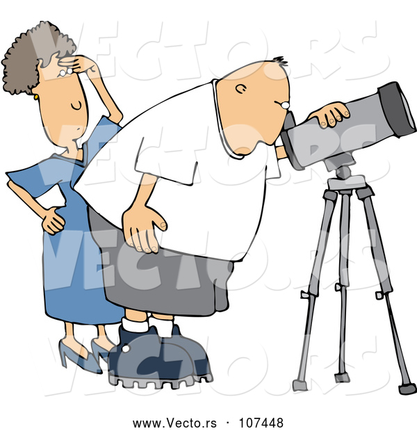 Cartoon Vector of Chubby White Male Astronomer and His Wife Looking Through a Telescope