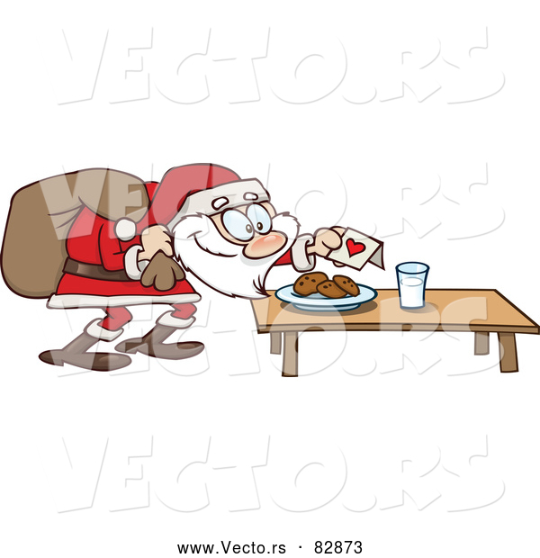 Cartoon Vector of Cookies and Milk for Santa Claus