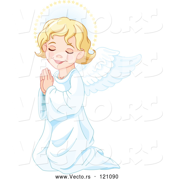 Cartoon Vector of Cute Blond Angel Girl Kneeling in Prayer