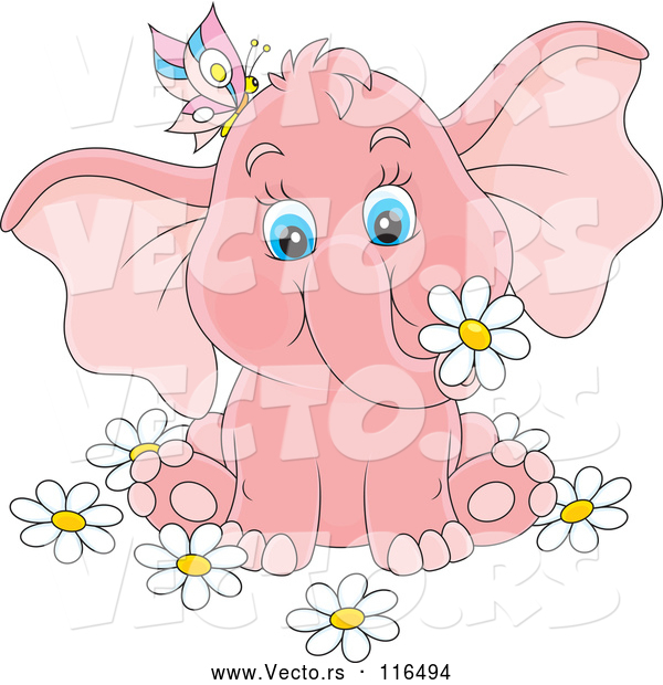 Cartoon Vector of Cute Pink Elephant with a Butterfly and Flowers