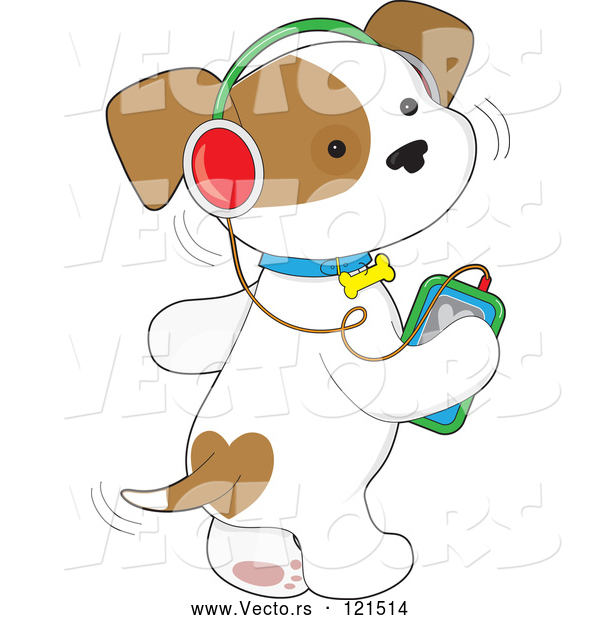 Cartoon Vector of Cute Puppy Dog Wagging His Tail and Listening to Music Through an Mp3 Player