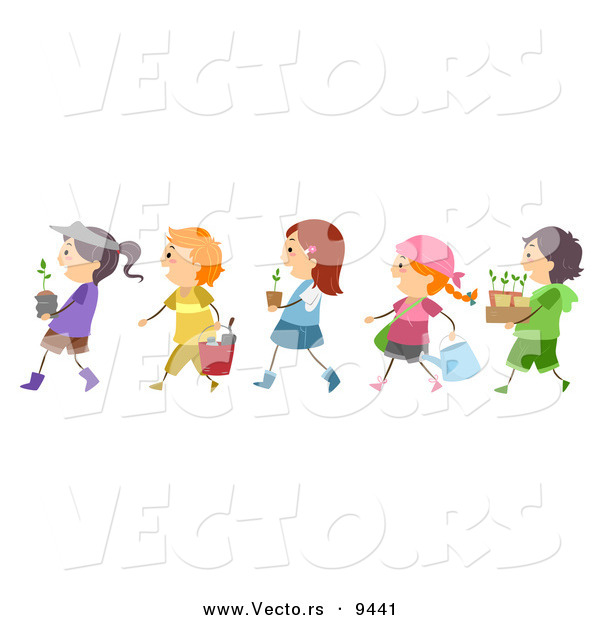 Cartoon Vector of Diverse Children Walking in Line with Garden Plants