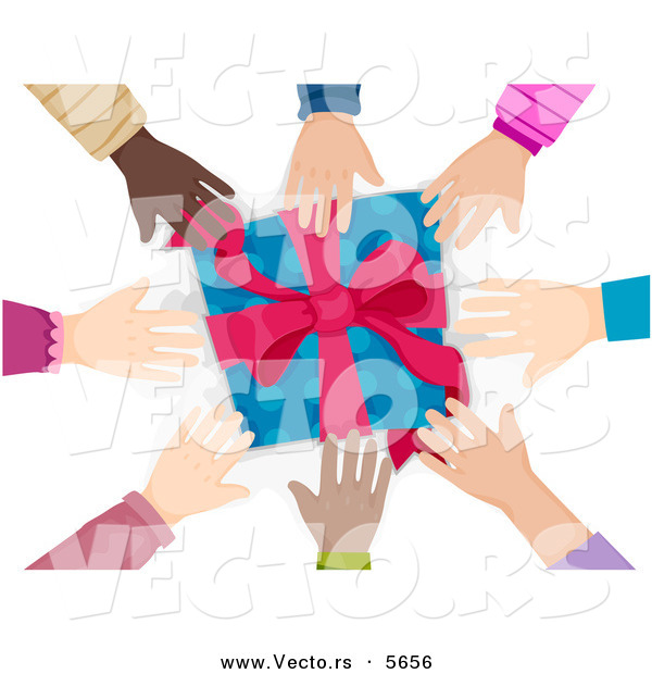 Cartoon Vector of Diverse Group of Hands Reaching for a Present
