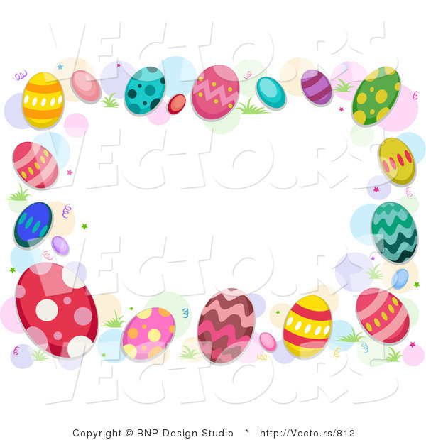 Cartoon Vector of Easter Egg Border