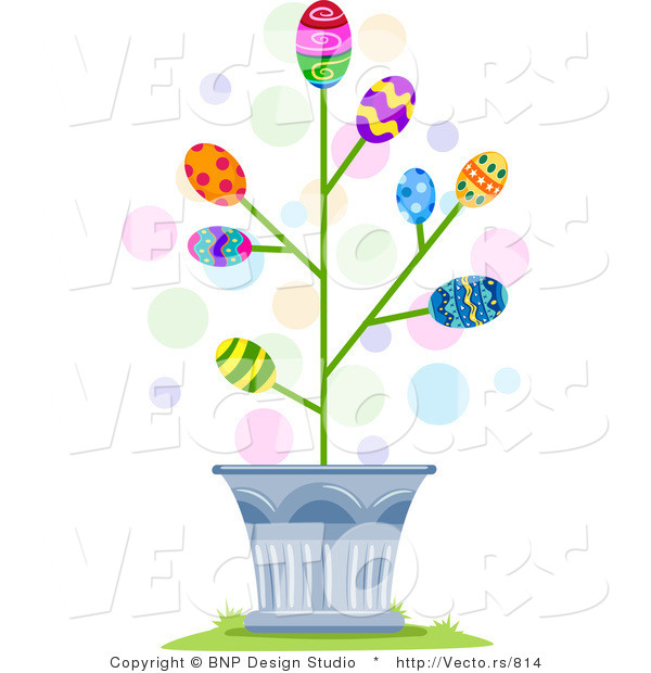 Cartoon Vector of Easter Eggs Blossoming in a Tree