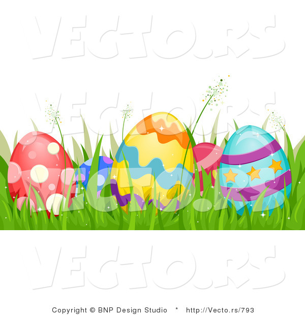 Cartoon Vector of Easter Eggs Hidden in Grass Border