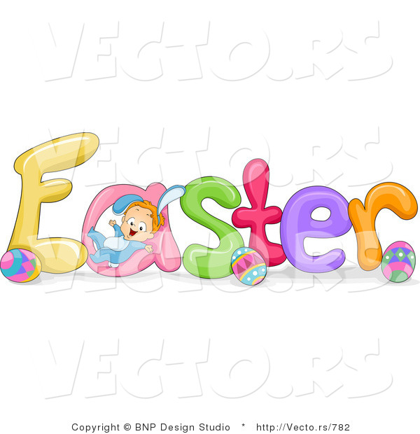Cartoon Vector of Easter Font with Eggs and Baby