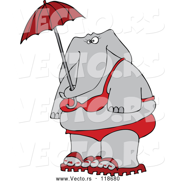 Cartoon Vector of Elephant in a Red Bikini, Holding an Umbrella