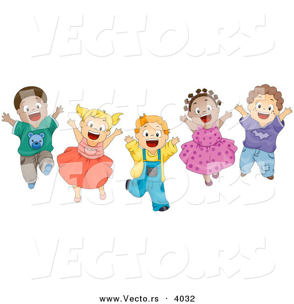 Cartoon Vector of Energetic Diverse Children Happily Jumping up and down