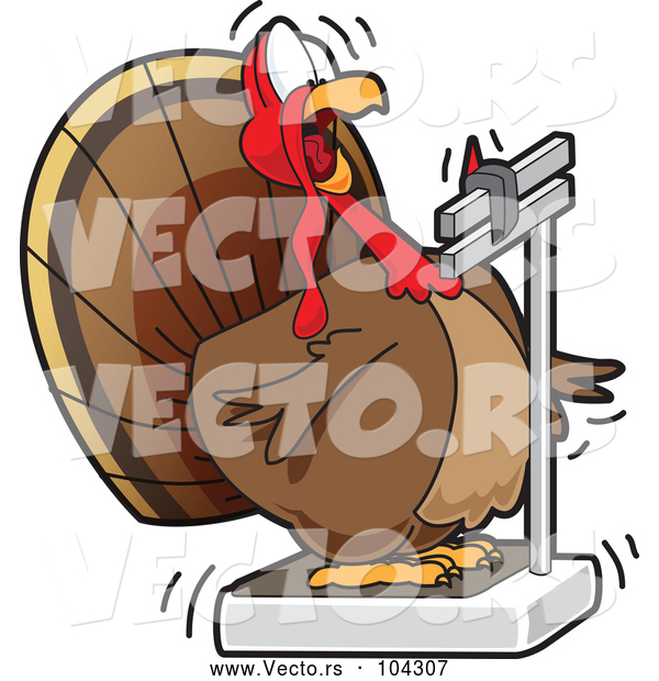 Cartoon Vector of Fat Turkey Bird Looking Shocked at Its Weight on a Scale