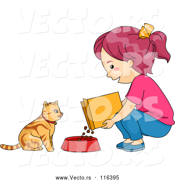 Cartoon Vector of Girl Feeding Her Cat Dry Food