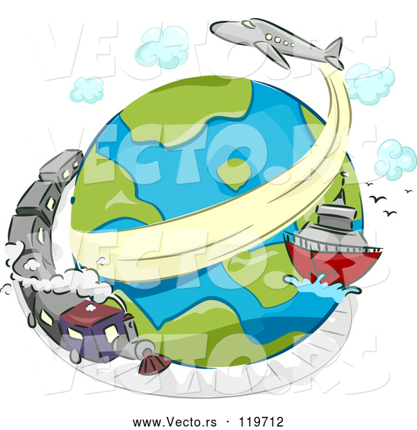 Cartoon Vector of Globe with a Train Ship and Airplane