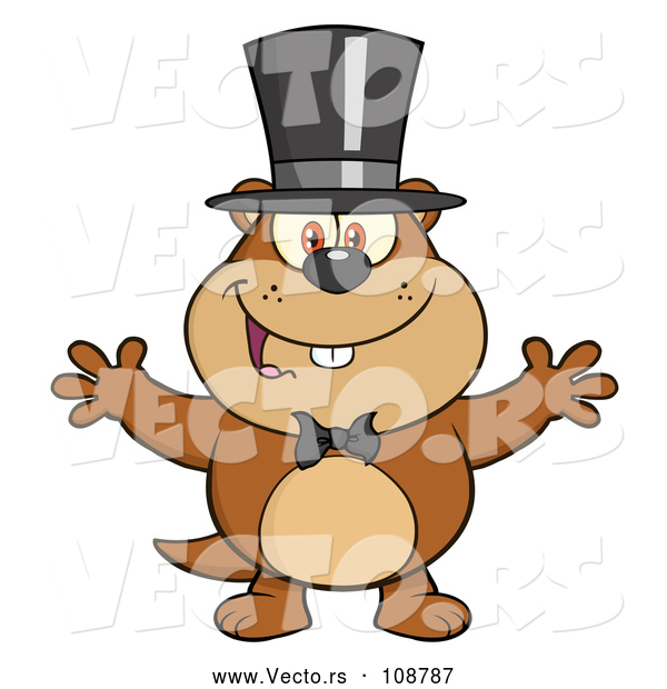 Cartoon Vector of Groundhog Wearing a Hat and Welcoming