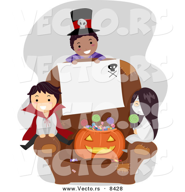 Cartoon Vector of Halloween Kids with Blank Sign on a Chair