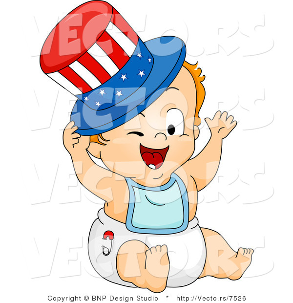 Cartoon Vector of Happy American Baby Wearing Red White and Blue Top Hat