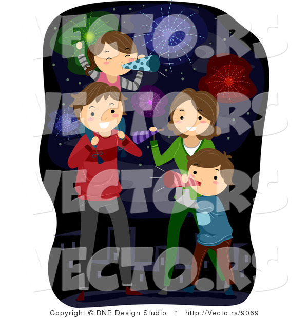 Cartoon Vector of Happy American Family Celebrating New Years or 4th of July
