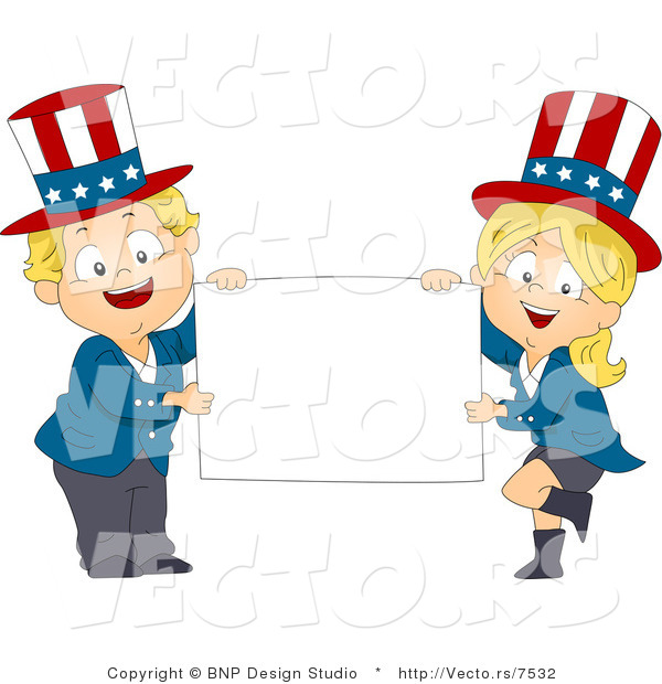 Cartoon Vector of Happy American Kids Holding a Blank Sign