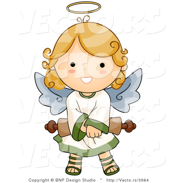 Cartoon Vector of Happy Angel Girl Holding Scroll