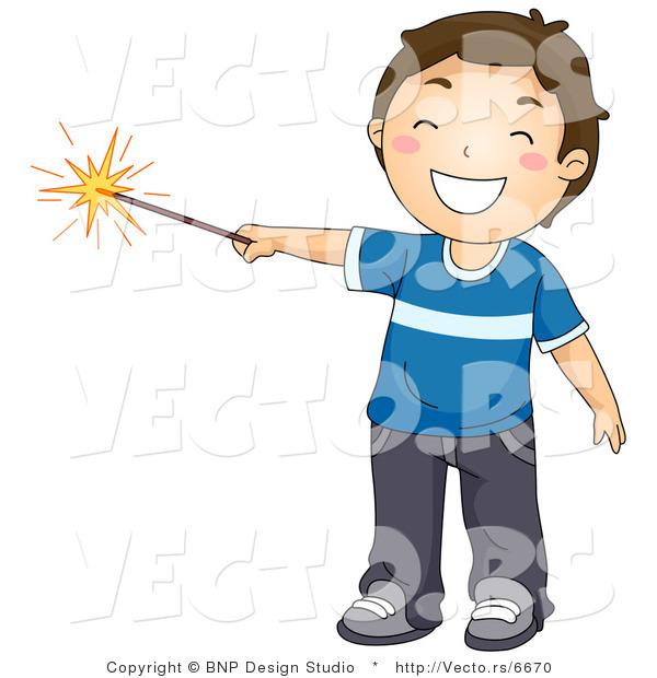 cartoon vector of happy boy holding lit sparkler firework