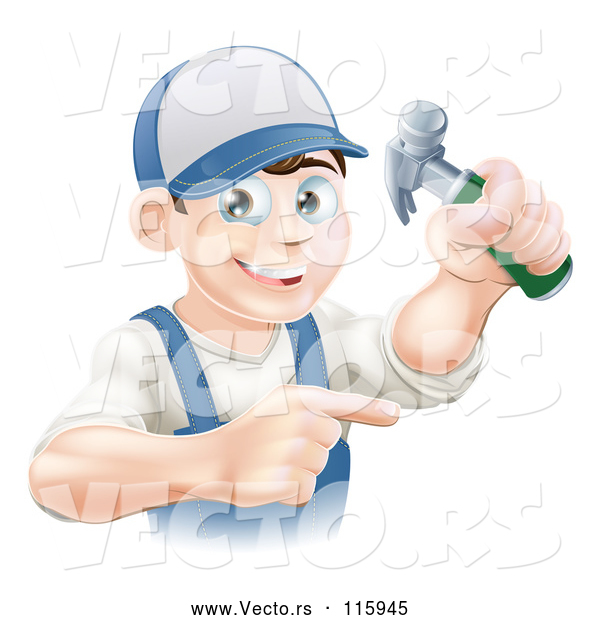 Cartoon Vector of Happy Brunette Caucasian Worker Man Holding a Hammer and Pointing