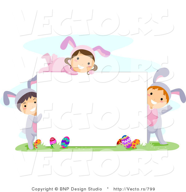 Cartoon Vector of Happy Children Surrounding a Blank Sign on Easter