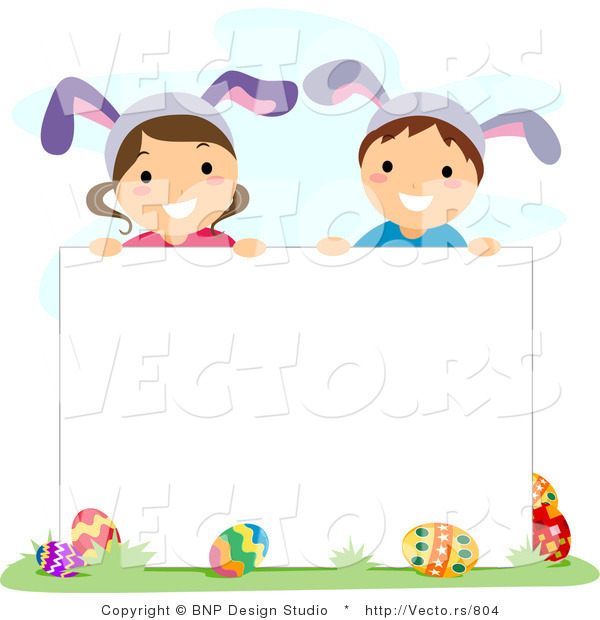 Cartoon Vector of Happy Children Wearing Bunny Ears Behind a Blank Sign