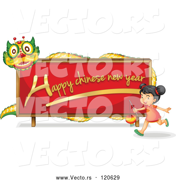 Cartoon Vector of Happy Chinese New Year Dragon Sign and Girl