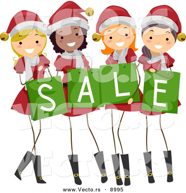 Cartoon Vector of Happy Christmas Girls Wearing Santa Suits While Holding Sale Shopping Bags