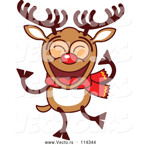 Cartoon Vector of Happy Dancing Christmas Rudolph Reindeer