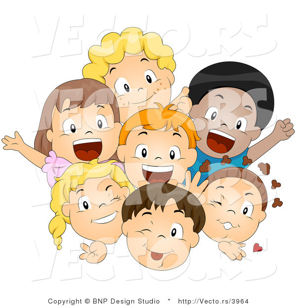 Cartoon Vector of Happy Diverse Kids Smiling and Waving Together As a Group
