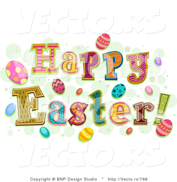 Cartoon Vector of Happy Easter Greetings