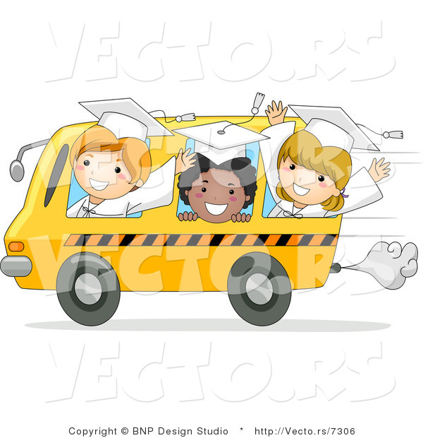 Cartoon Vector of Happy Graduate Kids Riding a Bus for the Last Time