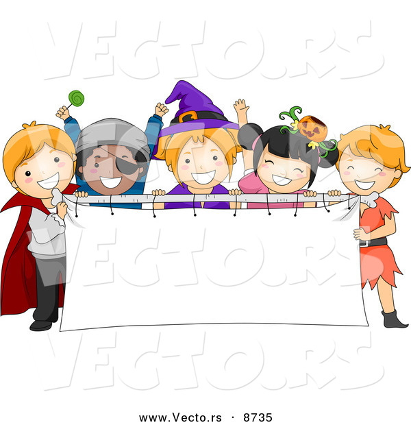 Cartoon Vector of Happy Halloween Kids Holding a Blank Banner