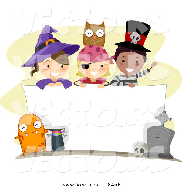 Cartoon Vector of Happy Halloween Kids over a Blank Sign