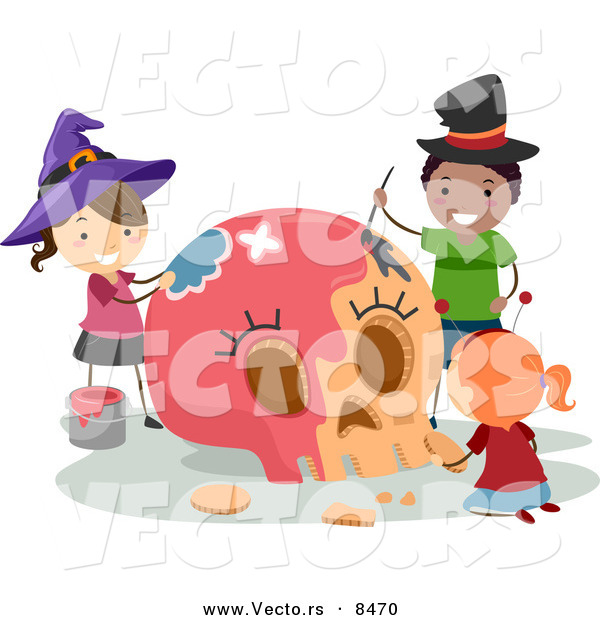 Cartoon Vector of Happy Halloween Kids Painting a Skull Pink by ...
