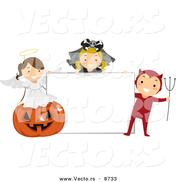 Cartoon Vector of Happy Halloween Kids with a Blank Sign