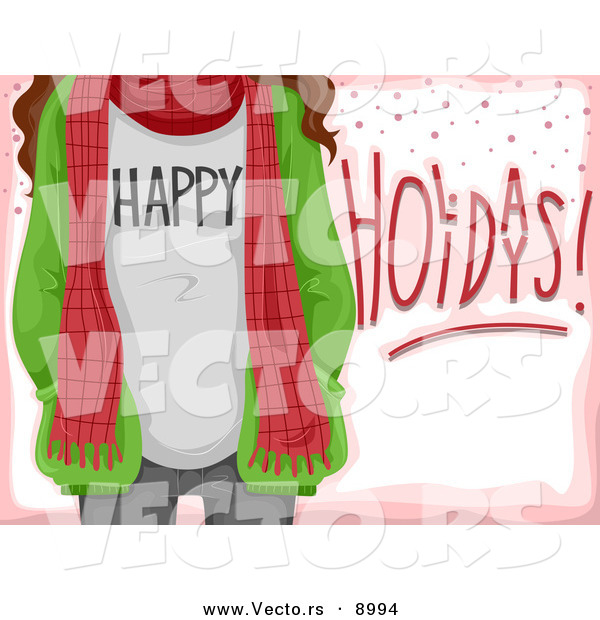 Cartoon Vector of Happy Holidays Girl with a Scarf over Pink Card