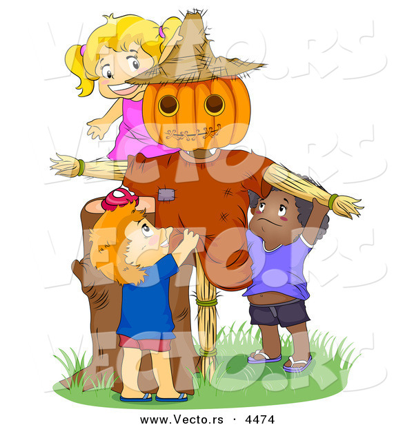 Cartoon Vector of Happy Kids Playing by a Scarecrow
