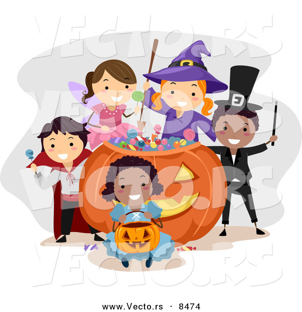 Cartoon Vector of Happy Kids Wearing Halloween Costumes Around a Giant Candy Pumpkin