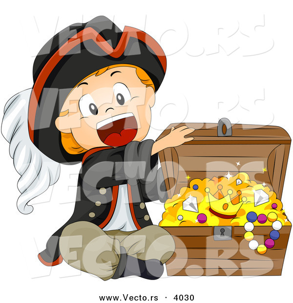 Cartoon Vector of Happy Pirate Boy Opening Treasure Chest Full of Gold and Jewels